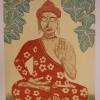 """Buddha, My Inner Advisor # 3"" 24"" x 18"" Dale Phelps, is a retired Iowa orthopedic surgeon and prostate cancer survivor. ""Reduction woodcut print, limited edition of 22, signed and numbered."""